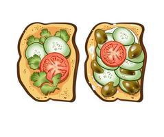 juego de dos tostadas con tomate, aceituna, pepinos, crema agria, perejil y pimiento vector