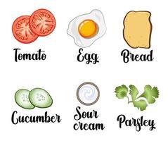 un conjunto de ingredientes, huevos revueltos, tostadas, tomates, pepinos, crema agria y perejil vector