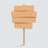 Wooden Sign Plain Empty 3d Four Stacked Planks List vector