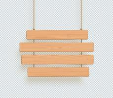 Wooden Sign Four Hanging Planks For Title Or Text Vector