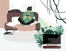 A young man plays video games while sitting on the couch wearing virtual reality glasses. Flat vector illustration