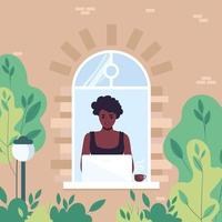 An African American girl works by the window behind a laptop. Flat vector illustration of woman freelancer or female student