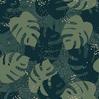 Monstera leaves and fireflies seamless pattern. Natural background with jungle greenery. Flat vector illustration