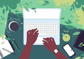 Hands of an African American man behind a laptop. Top view. Freelancer works outdoors in a park in spring. Flat vector illustration