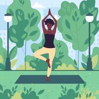 joven afroamericana practica yoga en un parque de la ciudad al aire libre. la niña medita en la naturaleza. ilustración vectorial plana vector