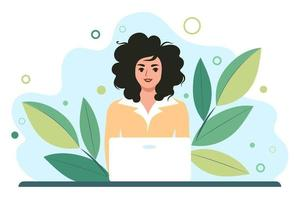 Woman works behind a laptop monitor. Distance learning online or remote work. Flat vector illustration