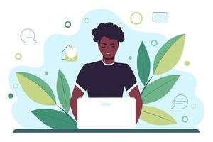 Young African American man works behind a laptop monitor. Distance learning online or remote work. Flat vector illustration