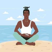 African american man practices yoga by the sea. Young guy sits on the beach in the lotus position. The concept of relaxation and asana on vacation. Flat vector illustration