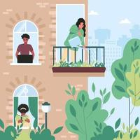 Neighbors in their apartments are busy with their daily activities. Through the windows of the house, one can see a freelance man, a girl reading a book, and a woman watering flowers on the balcony. vector