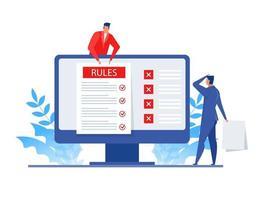 empresario presenta reglas para negocios en línea vector