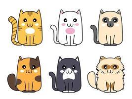 colección de lindos gatos esponjosos vector