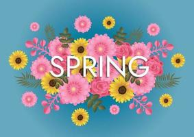 Florals hello spring background for holidays mood vector