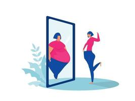 fat lady looking at mirror sees fit reflection, before and after concept vector