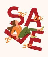 Woman is Resting on Sale Lettering and Enjoying Lifestyle with Discount vector