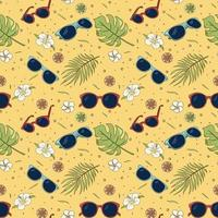 Seamless pattern of sunglasses, tropical leaves and flowers. Repeated ornament of summer vibes items. Vector yellow hand drawn illustration for wrapping paper, wallpaper, textile and fabric