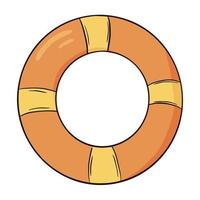 Hand drawn yellow and orange swim ring icon. Swimming circles flat style vector illustration isolated on white background. Inflatable swimming gear for a summer party. Colorful illustration of swim ring.