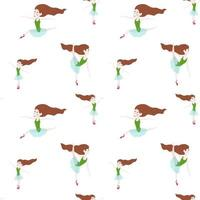 Seamless pattern with dancing girl. Ballerina character. vector
