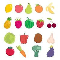 Fruit and vegetable set. Collection of vector design elements.