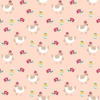 Seamless spring pattern with hen, chicken and flower. Vector illustration on a pink background. Endless texture for Easter