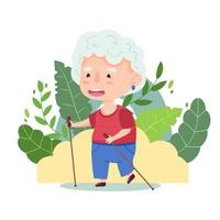 Cute old lady is walking Nordic walking with sticks. Vector illustration. Female character of grandmother playing sports. Cartoon style