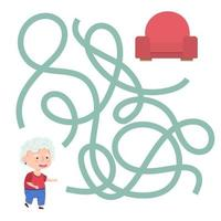 Cute cartoon grandmother maze game. Labyrinth. Funny game for children education. Vector illustration