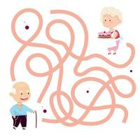 Cute cartoon grandparents maze game. Labyrinth. Funny game for children education. Vector illustration