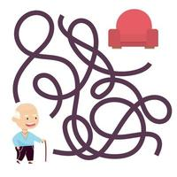 Cute cartoon grandfather maze game. Labyrinth. Funny game for children education. Vector illustration
