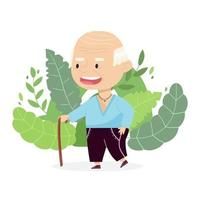Grandfather with a stick. Cheerful cartoon character isolated on the background. Cute vector illustration