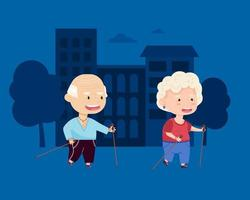 Sports grandmother and grandfather walk with sticks on the background of the cityscape. Grandparents. Vector illustration in cartoon style