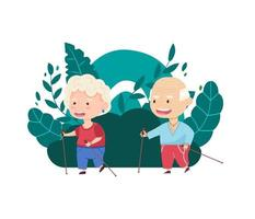 Sports grandmother and grandfather walk with sticks in nature. Grandparents. Vector illustration in cartoon style
