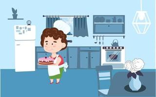 Grandmother in a culinary cap stands in the kitchen and holds a cake in her hands. Vector illustration in cartoon style