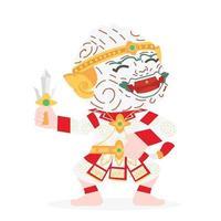 Hanuman Thai character cartoon vector