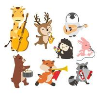 Set of cheerful animals playing music cartoon vector