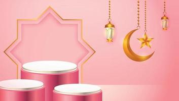 Exhibición de productos 3d, podio rosa y blanco con temática islámica con luna creciente, linterna y estrella para el ramadán vector