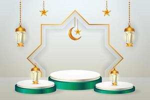 3d product display green and white podium themed islamic with crescent moon, lantern and star for ramadan vector