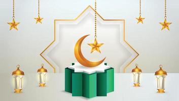 Exhibición de productos 3d podio verde y blanco temático islámico con luna creciente, linterna y estrella para ramadán vector