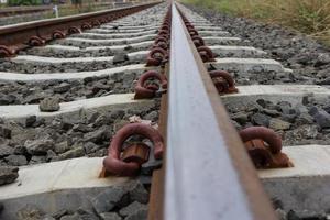 Close up of railroad track photo