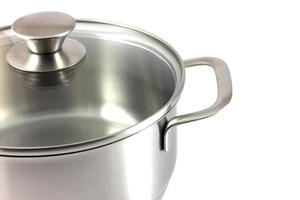Stainless steel pot isolated in white background photo