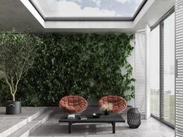 Scandinavian sunroom with indoor terrace photo