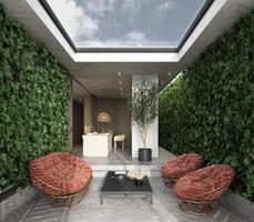 elegante terraza acristalada con cocina en el fondo foto
