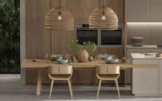 Minimalist dining area with kitchen photo
