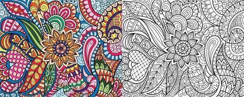 Doodle zentangle página de libro para colorear para adultos y niños. decorativo redondo blanco y negro. vector