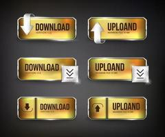 Gold and steel download web buttons on black background vector