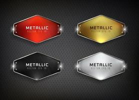 Steel web buttons set on black background vector