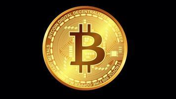 Bitcoin-Rotation über Alpha-Kanal mit schwarzem Hintergrund
