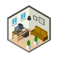 Isometric Office Room On Background vector