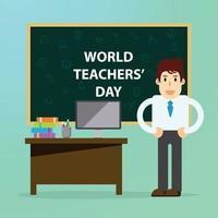 Happy teachers day cartoon character, flat design background vector illustration