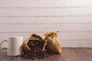 Love drinking coffee, coffee mugs and coffee beans photo