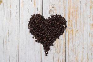 Coffee beans arranged in a heart shape, love drinking coffee