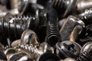 Close up of a pile of metal screws